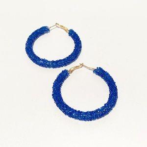 Pretty Blue and Gold Hoop Earrings